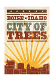 Boise, Idaho - Skyline and Sunburst Screenprint Style Art by  Lantern Press