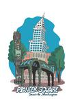 Seattle, Washington - Pioneer Square - Cartoon Icon Prints by  Lantern Press