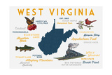 West Virginia - Typography and Icons Print by  Lantern Press