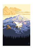 Mt. Baker Snoqualmie National Forest (Image Only) Print by  Lantern Press