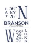 Branson, Missouri - Latitude and Longitude (Blue) Print by  Lantern Press