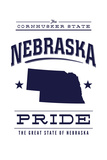 Nebraska State Pride - Blue on White Poster von  Lantern Press