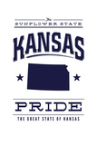 Kansas State Pride - Blue on White Poster by  Lantern Press
