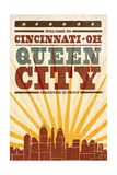 Cincinnati, Ohio - Skyline and Sunburst Screenprint Style Posters by  Lantern Press