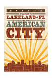 Lakeland, Florida - Skyline and Sunburst Screenprint Style Print by  Lantern Press