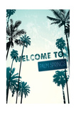 Palm Springs, California - Street Sign and Palms Prints by  Lantern Press