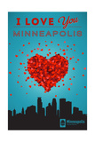 I Love You Minneapolis, Minnesota Art by  Lantern Press