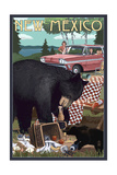 New Mexico - Bear and Picnic Scene Prints by  Lantern Press
