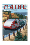 Maine - Retro Camper on Road Prints by  Lantern Press