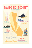 Ragged Point, California - Typography and Icons Posters by  Lantern Press