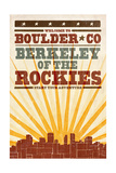 Boulder, Colorado - Skyline and Sunburst Screenprint Style Posters by  Lantern Press