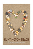 Huntington Beach, California Is Where My Heart Is - Stone Heart on Sand Prints by  Lantern Press