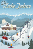 Lake Tahoe, California - Retro Ski Resort Print by  Lantern Press
