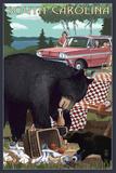 South Carolina - Bear and Picnic Scene Art by  Lantern Press