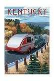 Kentucky - Retro Camper on Road Poster by  Lantern Press