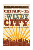 Chicago, Illinois - Skyline and Sunburst Screenprint Style Prints by  Lantern Press