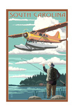 South Carolina - Float Plane and Fisherman Prints by  Lantern Press