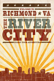 Richmond, Virginia - Skyline and Sunburst Screenprint Style Art by  Lantern Press