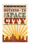 Houston, Texas - Skyline and Sunburst Screenprint Style Prints by  Lantern Press