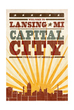 Lansing, Michigan - Skyline and Sunburst Screenprint Style Prints by  Lantern Press