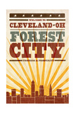 Cleveland, Ohio - Skyline and Sunburst Screenprint Style Prints by  Lantern Press