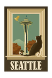 Seattle, Washington - Space Needle and Cat Window Posters by  Lantern Press