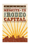 Mesquite, Texas - Skyline and Sunburst Screenprint Style Art by  Lantern Press
