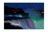Niagara Falls - Falls and Green Lights at Night Prints by  Lantern Press
