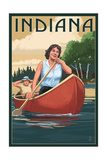 Indiana - Canoers on Lake Prints by  Lantern Press