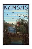 Kansas - Hunter and Lake Posters by  Lantern Press