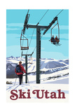 Ski Utah - Ski Lift Day Scene Prints by  Lantern Press