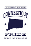 Connecticut State Pride - Blue on White Prints by  Lantern Press