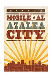 Mobile, Alabama - Skyline and Sunburst Screenprint Style Prints by  Lantern Press