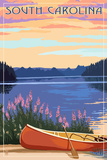 South Carolina - Canoe and Lake Posters by  Lantern Press