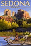 Sedona, Arizona - Cathedral Rock and Cairn Posters by  Lantern Press
