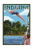 Indiana - Woman Diving and Lake Posters by  Lantern Press