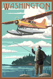 Washington - Float Plane and Fisherman Print by  Lantern Press