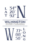 Wilmington, North Carolina - Latitude and Longitude (Blue) Poster by  Lantern Press