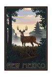 New Mexico - Deer and Sunrise Posters by  Lantern Press