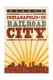 Indianapolis, Indiana - Skyline and Sunburst Screenprint Style Posters by  Lantern Press