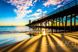 California - Seal Beach Pier at Sunset Prints by  Lantern Press