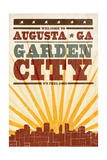 Augusta, Georgia - Skyline and Sunburst Screenprint Style Posters by  Lantern Press