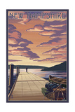 New Hampshire - Dock Scene and Lake Print by  Lantern Press