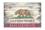 San Clemente, California - California State Flag - Barnwood Painting Prints by  Lantern Press