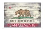 San Clemente, California - California State Flag - Barnwood Painting Prints by  Lantern Press