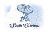 South Carolina - Beach Chair and Umbrella - Blue - Coastal Icon Posters by  Lantern Press