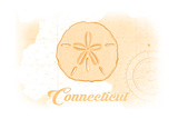 Connecticut - Sand Dollar - Yellow - Coastal Icon Prints by  Lantern Press
