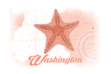 Washington - Starfish - Coral - Coastal Icon Prints by  Lantern Press