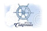 Cambria, California - Ship Wheel - Blue - Coastal Icon Posters by  Lantern Press