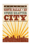 Sioux Falls, South Dakota - Skyline and Sunburst Screenprint Style Prints by  Lantern Press